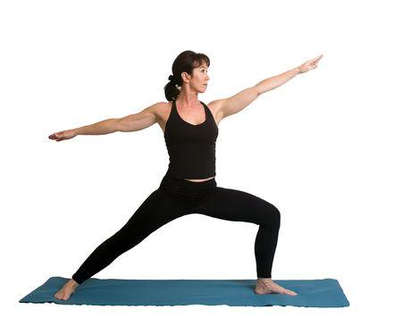 An attractive woman doing yoga photo