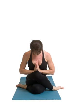 an atractive woman doing yoga poses isolated with copy space photo