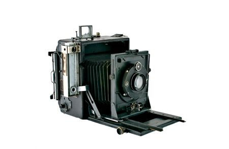 bellows: Detailed photograph of a vintage bellows press type camera