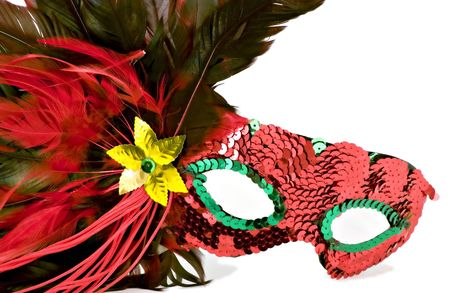 isolated shot of a brightly colored masquerade or mardi gras mask Standard-Bild
