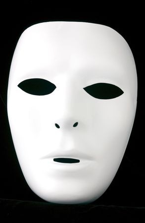 flat nose: Solid, flat white, full face, expressionless mask that has been isolated on a black background.