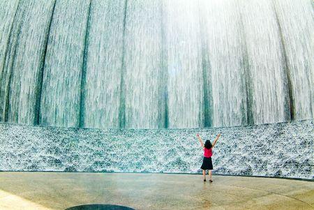 Awestruck woman at fountain