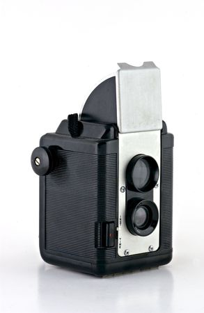 Detailed shot of a vintage twin lens reflex camera photo