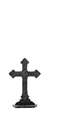 representations: Cast Iron crucifix in black and white, isolated on white backgrown Stock Photo