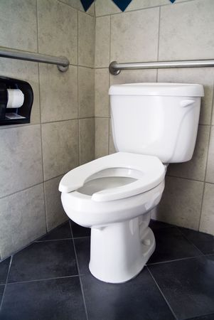 necessity: A picture of a commode with no lid and handicap accommodations.