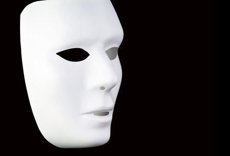 a profile shot of a white full face mask taken on a black background
