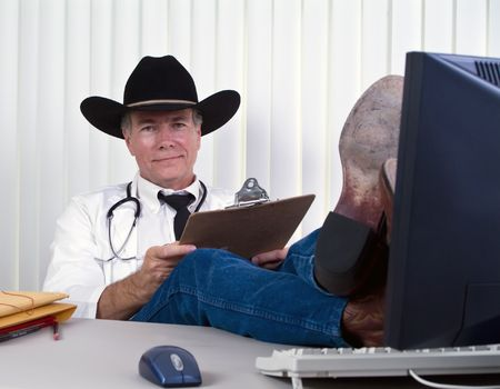 undemanding: A man dressed in a manner as if to suggest he is a country doctor or a veterinarian.