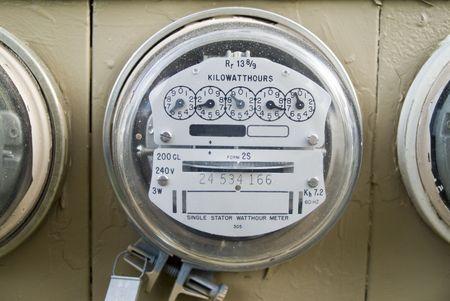 A close up of a kilowatt hour single stator power company meter.