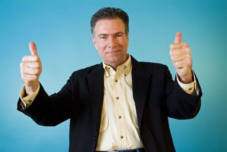 endorse: A man with passionate body language giving a thumbs up. Stock Photo