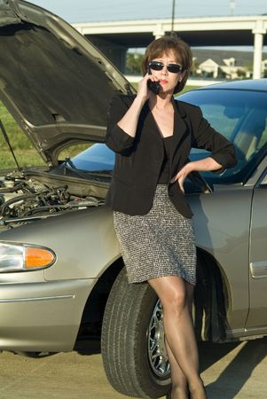 stoppage: A woman on a cell phone standing by an automobile with the hood up.