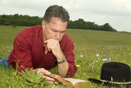 comprehension: A man laying in a grassy, wildflower peppered field, reading a bible.