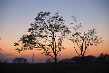 Nightfall or daybreak in the country with a power line tower visible in the background.