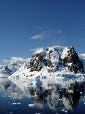 Reflection of icebergs, Sunny day in Antarctica photo