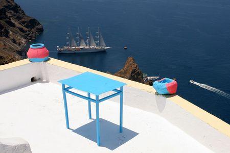 santorini greece: Thira,Santorini,Greece Stock Photo