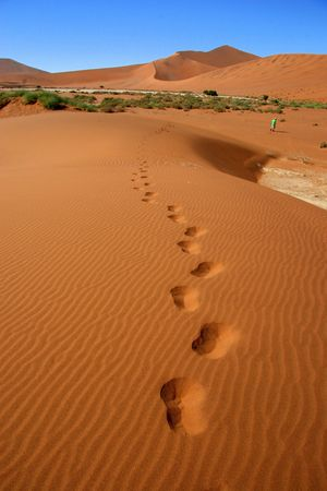 footprints in the desert, Namibia photo
