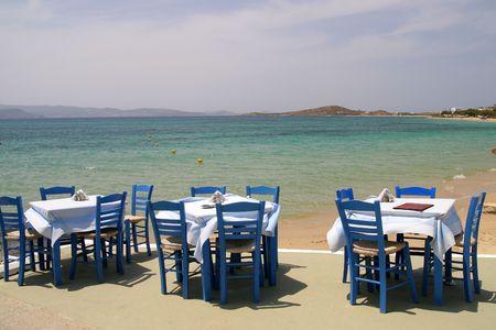 Taverne grecque de la mer, à Naxos, Grèce Banque d'images - 3388660