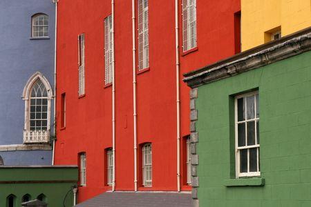 Colorful houses on a row in a Dublin street, Ireland photo