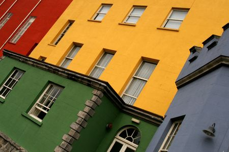 Colorful houses on a row in a Dublin street, Ireland Stock Photo - 3489902