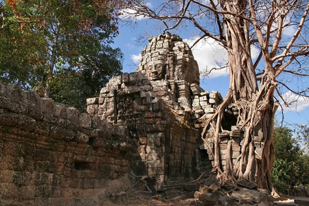 cravings: Bayon face cravings in Angkor Wat complex,Cambodia Stock Photo