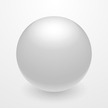 esoterics: Realistic white 3D sphere. Isolated vector object on white background