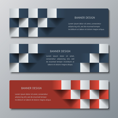 checkered volume: Geometric horizontal banners with the 3D effect for business website. Three template for the header of the site or the advertisement banner