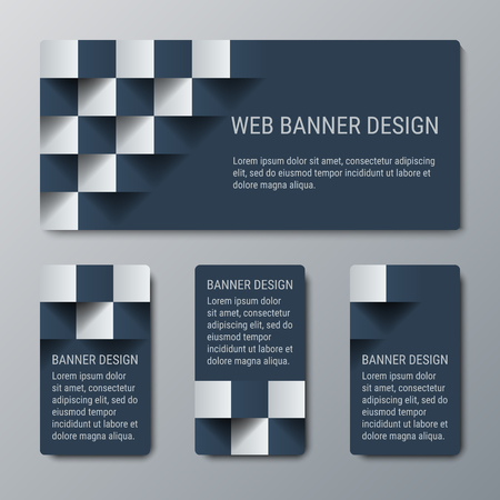 checkered volume: Geometric horizontal and vertical banners with the 3D effect for business website. Four template for the header of the site and advertising banners