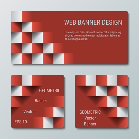 checkered volume: Geometric rectangular and square banners with the 3D effect for business website. Three template for the header of the site and advertising banners Illustration
