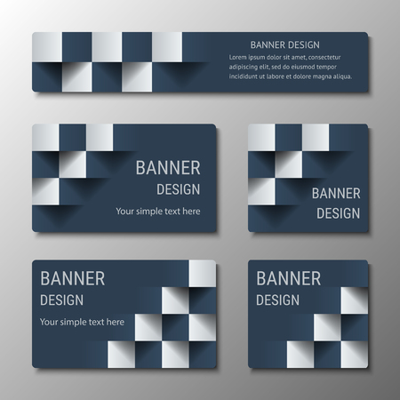 checkered volume: Geometric rectangular and square horizontal banners with the 3D effect for business website. Illustration