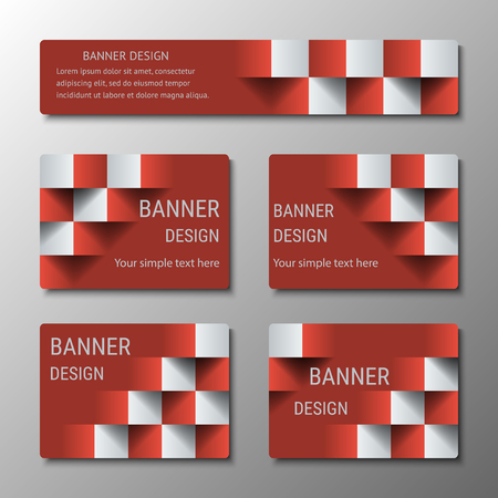 checkered volume: Geometric rectangular banners of the same width with the 3D effect for business website. Three template for the header of the site and advertising banners Illustration
