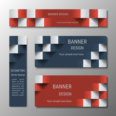 checkered volume: Geometric vertical and horizontal rectangular banners of varying width with the 3D effect for a business website. Four banners advertising templates