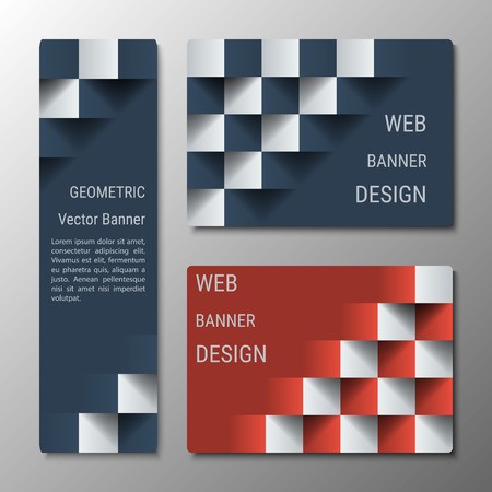checkered volume: Geometric vertical and horizontal banners of varying width with the 3D effect for a business website. Three banners advertising templates Illustration