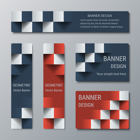 checkered volume: Geometric narrow vertical and wide horizontal rectangular banners with 3d effect for a business website. Five banners advertising templates