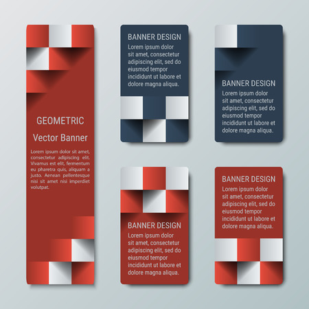 checkered volume: Geometric vertical high and medium rectangular banners with 3d effect. Illustration
