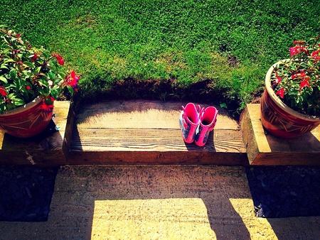 wellington: Empty Wellington boots on gardens step