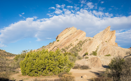 pacific crest trail: Massive desert rock formations form geologic breaks in the San Andreas fault.