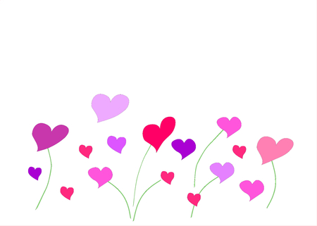 Colorful hearts on a white background illustration.