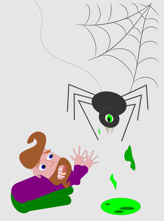 Anxious man with spider in cobwebs Illustration