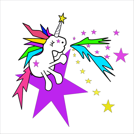 Sitting unicorn on star