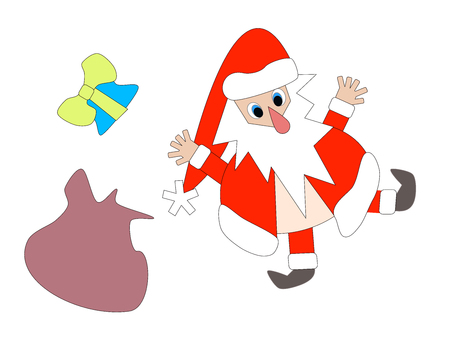 Funny stumbling santa claus cartoon with present Illustration