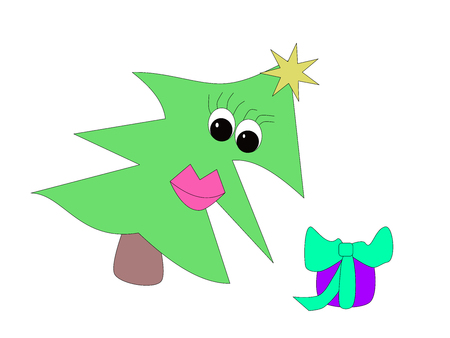 Funny christmas tree with present cartoon 向量圖像
