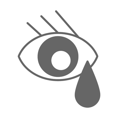 Eye with teardrop gray outline icon Illustration