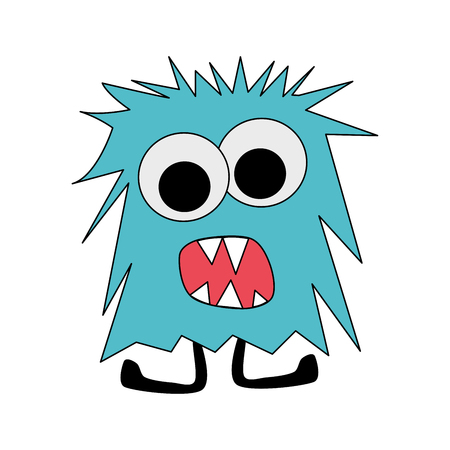 Blue angry hairy monster cartoon