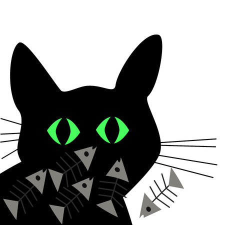 Black cat silhouette with fishbone cartoon on white background