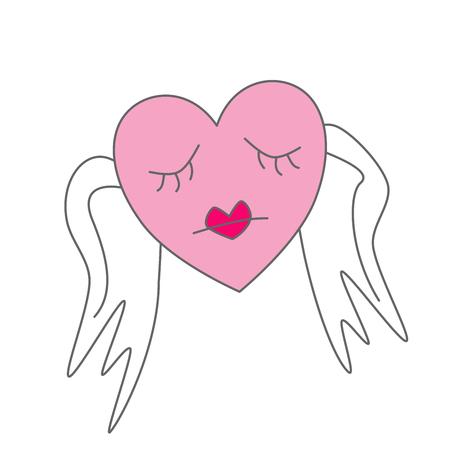 Sad heart with wings cartoon symbol
