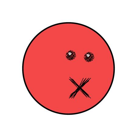 Red emoji face symbol - forbidden, danger, silence, angry, sad, displeased