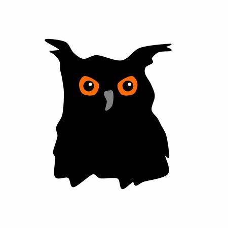 Black eagle owl silhouette Ilustração