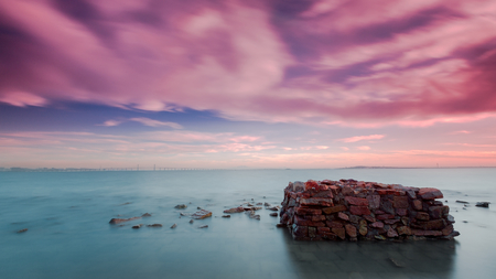 remnants: The remnants of the breakwater Stock Photo