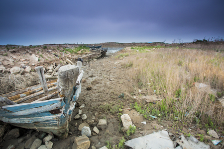 flee: abandoned wooden boat