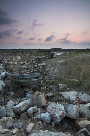 abandoned: Abandoned wooden boat Stock Photo