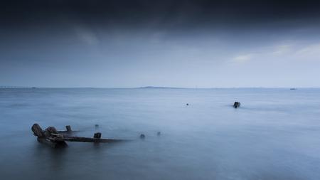 sunken boat: Sunken fishing boat